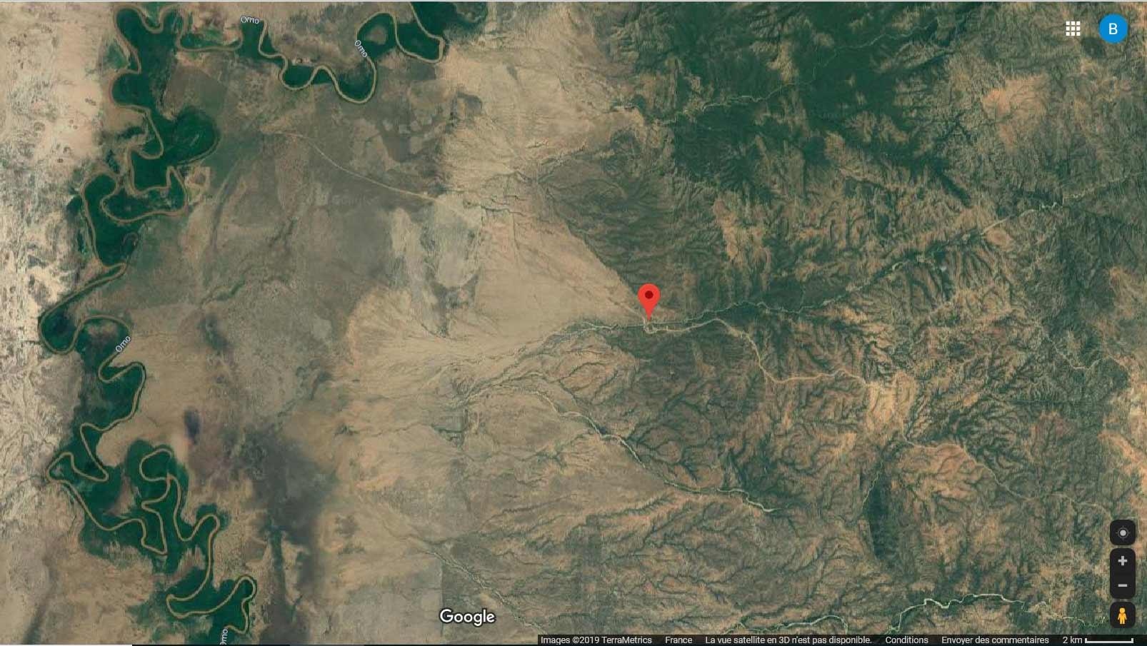 Zone désertique entre Turmi et l'Omo, biotope Pantala flavescens.