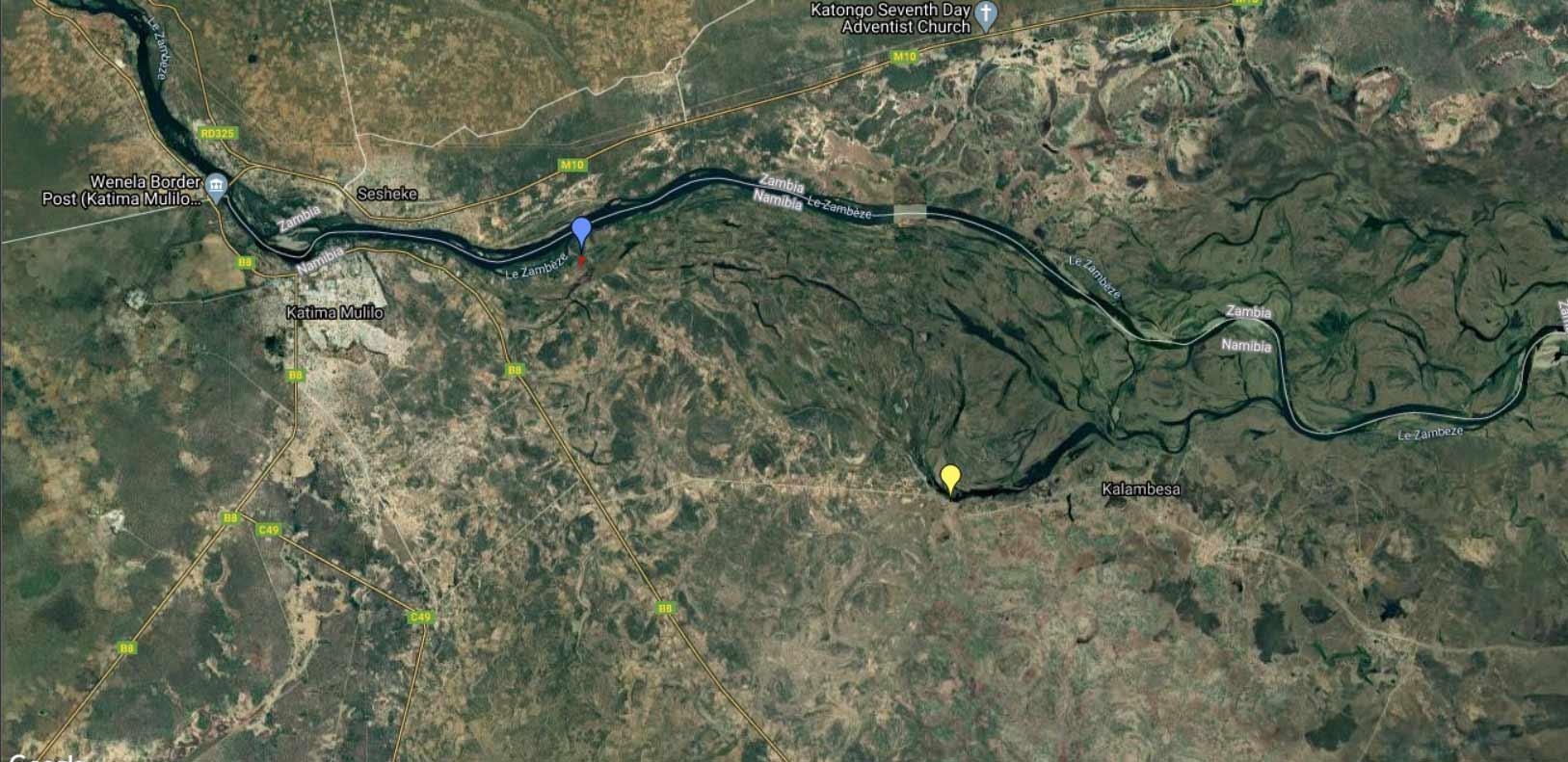 Localisation aérienne des 2 sites de Pseudagrion assegai.
